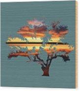 Sunrise Tree Wood Print