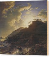 Sunset After A Storm On The Coast Of Sicily Wood Print
