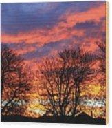 Sunset And Filigree Wood Print