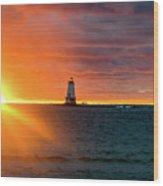 Sunset And Lighthouse Wood Print