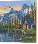 Sunset At Log Cabin Wood Print
