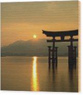 Sunset At Miyajima's Torii Wood Print