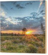 Sunset At The Field Of Dreams Wood Print