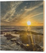Sunset At Thor's Well Wood Print
