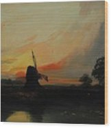Sunset By The Windmill Wood Print