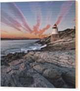 Sunset, Castle Hill Lighthouse  Wood Print