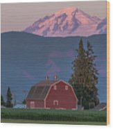 Sunset Reflection On Mt. Baker Wood Print