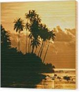 Sunset In Atiha, Moorea, French Polynesia Wood Print
