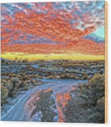 Sunset In El Prado Wood Print