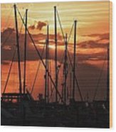 Sunset In Masts, South Fl. Wood Print