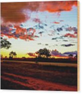 Sunset Landscape In Zambia Wood Print