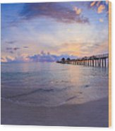 Sunset Naples Pier Florida Wood Print