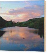 Sunset Over A Lake Wood Print