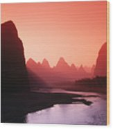 Sunset Over Li River Wood Print