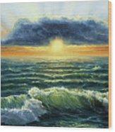 Sunset Over Ocean Wood Print