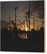 Sunset Over Sutton Harbour Plymouth Wood Print