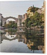 Sunset Over The Famous Mostar Bridge Wood Print