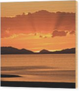 Sunset Over The Great Salt Lake Wood Print