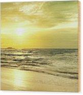 Sunset Over The Sea. Panorama Wood Print