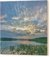 Sunset Over Water Wood Print
