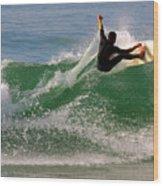 Surfer Wood Print by Carlos Caetano