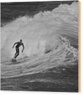 Surfing Off The Coast Of Montecito California Wood Print