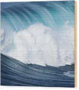 Surfing The Infamous Jaws Wood Print