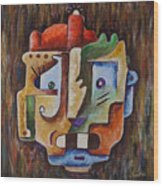 Surrealism Head Wood Print