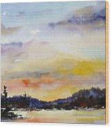 Suset At The Lake Wood Print