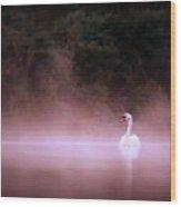 Swan In The Mist Wood Print