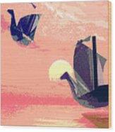 Swan Ships Leaving The Sea Wood Print