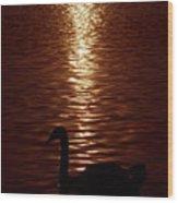 Swan Silhouette Wood Print