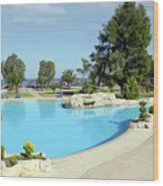 Swimming Pool Summer Vacation Scene Wood Print