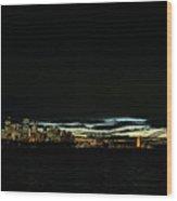 Sydney City Harbour Sunset Skyline In Australia  Wood Print