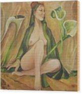 Tabitha With Lilies Wood Print
