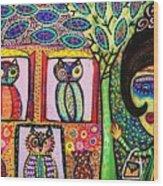 Talavera Owl Tree House Wood Print