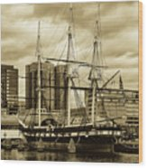 Tall Ship In Baltimore Harbor Wood Print