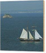 Tall Ship Passing Thatcher's Rock, Torbay Wood Print