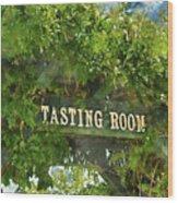 Tasting Room Sign Wood Print
