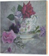 Teacup Rose Wood Print