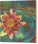 Teal And Peach Waterlilies Wood Print