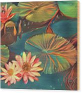 Teal Waterlilies 8 Wood Print