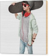 Teen Boy With Skateboard Wood Print