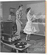 Teen Couple Dancing At Home, C.1950s Wood Print