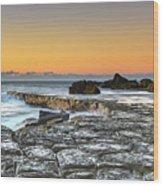 Tessellated Rock Platform And Seascape Wood Print