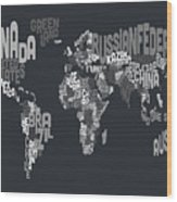 Text Map Of The World Wood Print