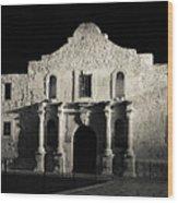The Alamo At Night - San Antonio Texas Wood Print