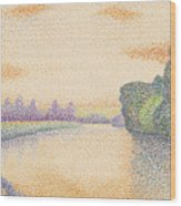 The Banks Of The Marne At Dawn Wood Print