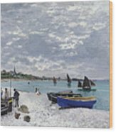 The Beach At Sainte Adresse Wood Print