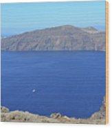 The Beautiful Caldera In Santorini, Greece With The Aegean Sea Wood Print